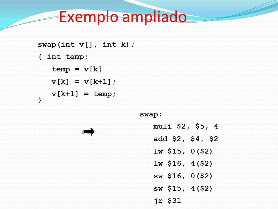 Exemplo ampliado swap(int v[], int k); { int temp; temp = v[k]